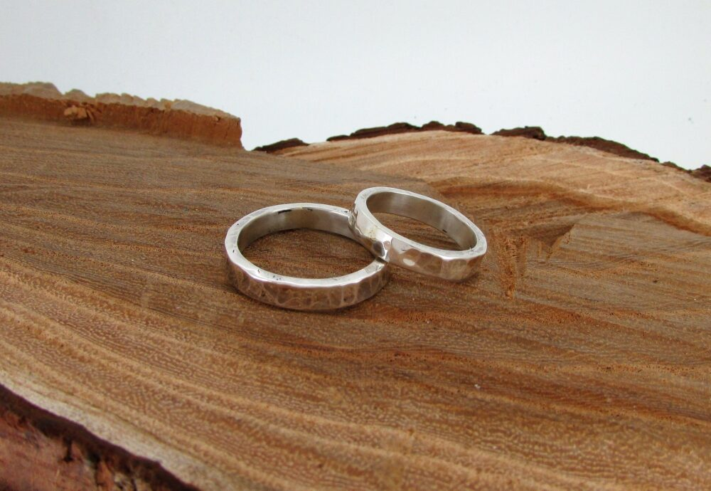 Set Of 2 Wedding Rings, Sterling Silver Band Bands For Couples, Couple Statement Ring, Hammered Rings