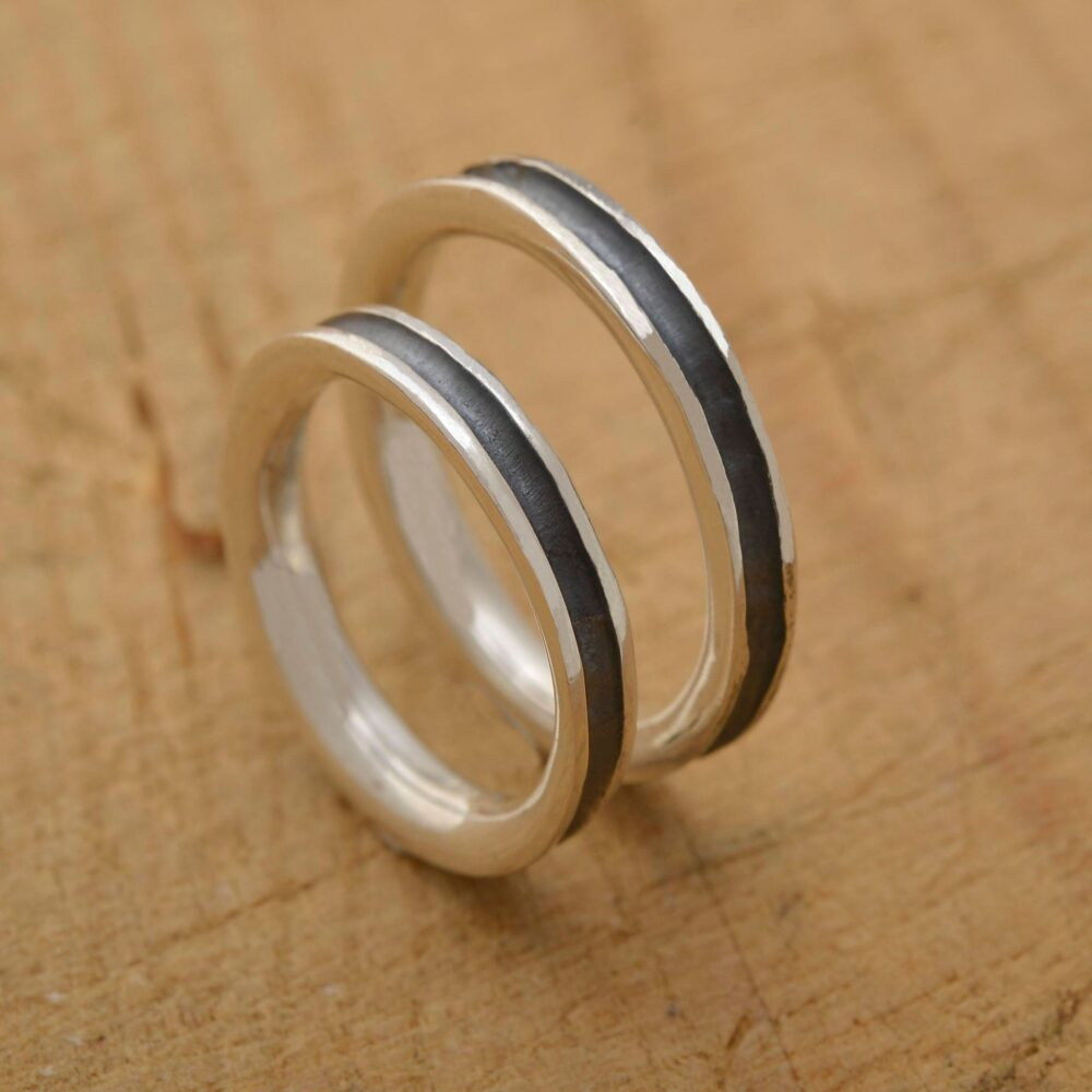 His & Her Wedding Bands, Sterling Silver Band Set, 3.5mm Wide, Unique Bridal Be100