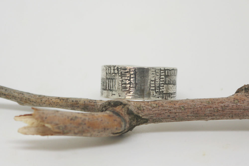 Unique Wide Silver Band, Rustic Wedding Ring, Unique Man's Ring