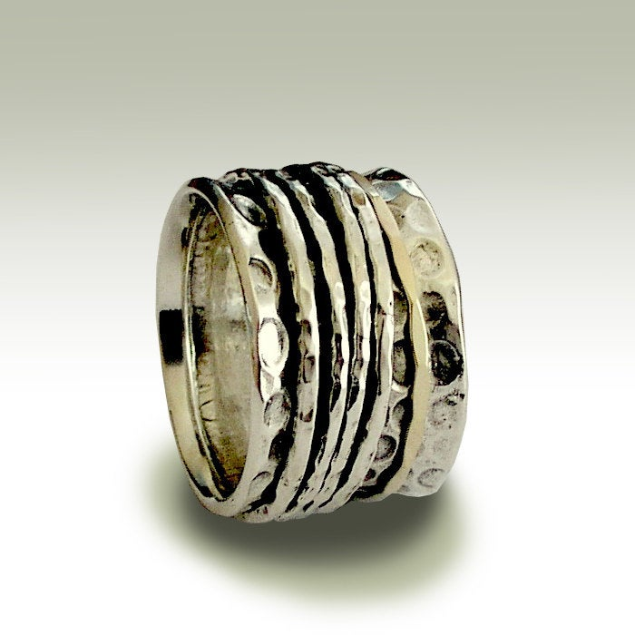 Sterling Silver Band, Stacking Bands, Wedding & Gold Ring, Spinners Wide Unisex Band - Nothing But You R1734A