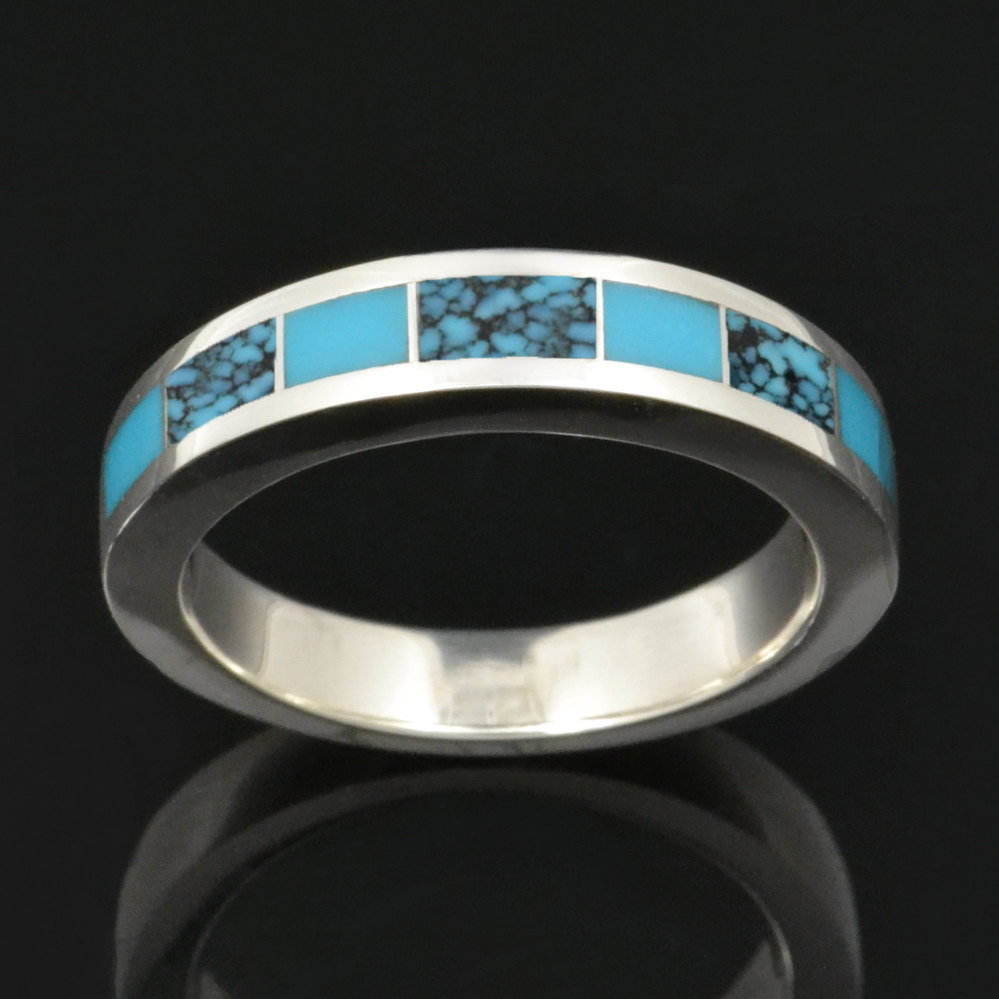 Turquoise Wedding Ring in Sterling Silver, Band, With Spiderweb By Hileman