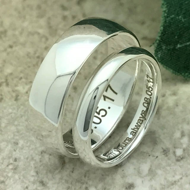 6mm/4mm Wedding Rings, Personalize Engrave Sterling Silver Band, His & Hers Couples Ring