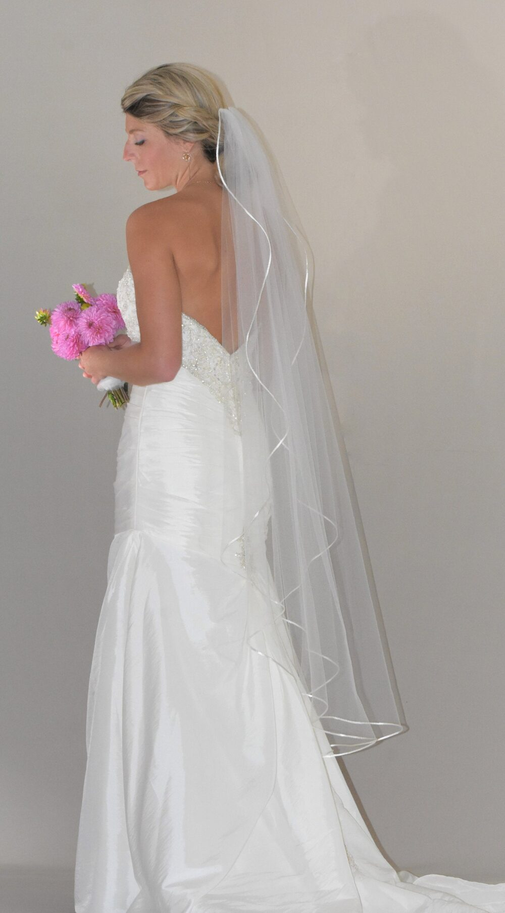 Angel Cut Knee Length Veil | Waterfall Satin Trim Mid Cord Edge Wedding Bridal