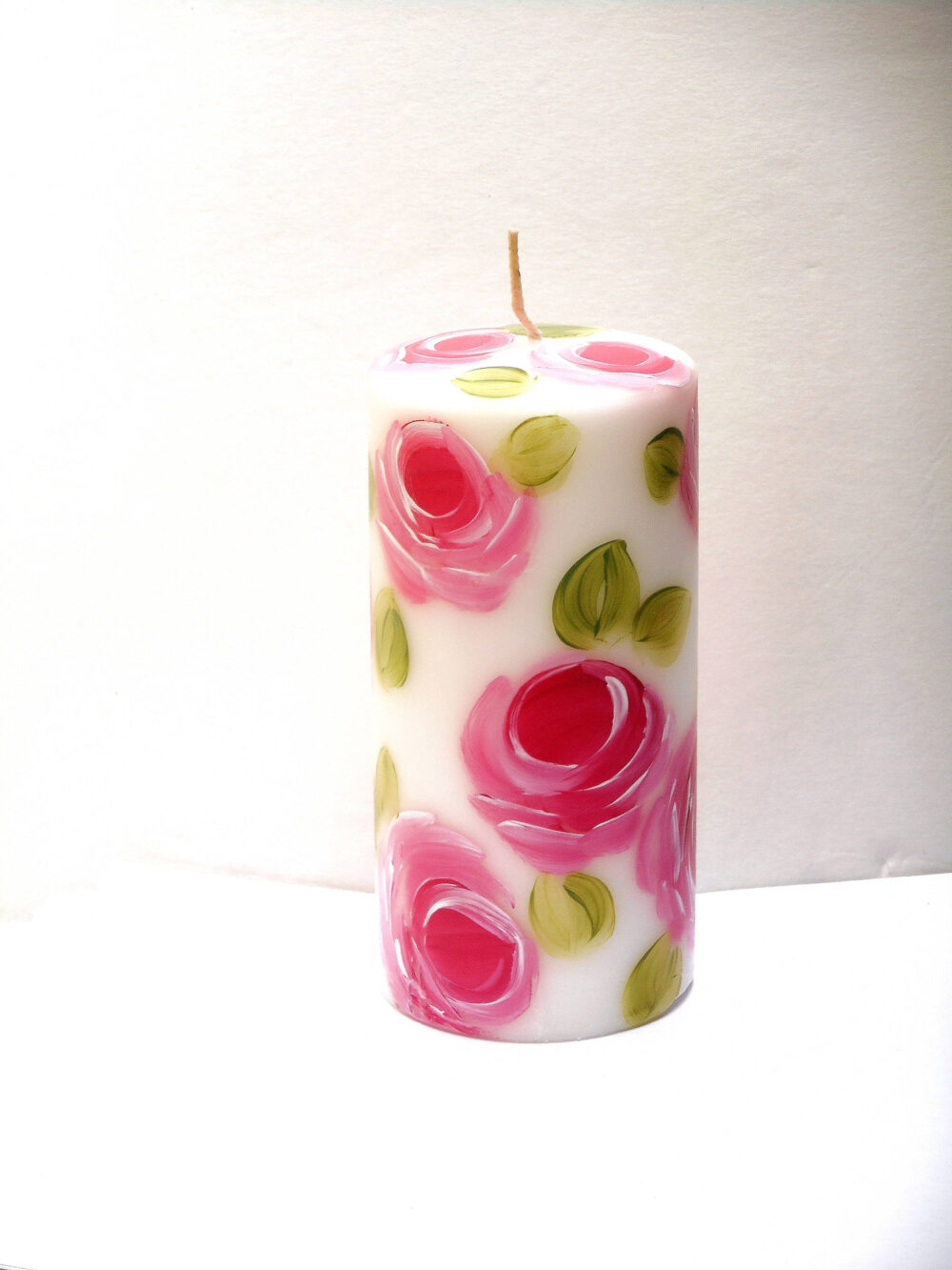 Painted Rose White Pillar Candle Romantic Shabby Cottage Chic Decor Free Shipping