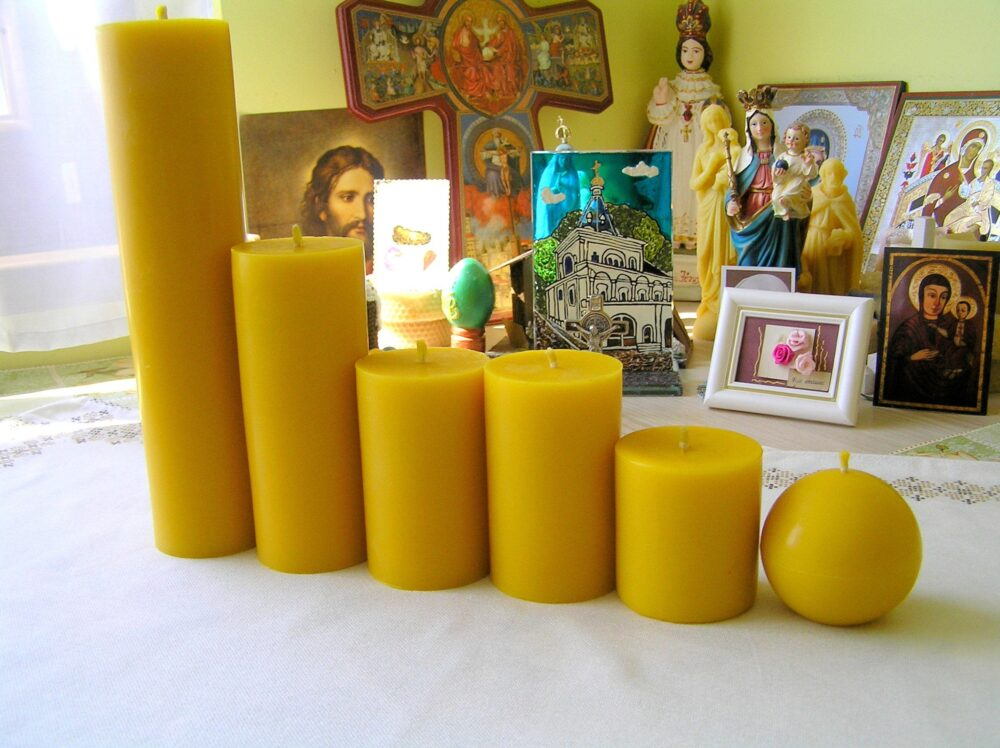 Beeswax Pillars, Pillar Candles, Ball Natural Candles For Gifts, Gift Catholic