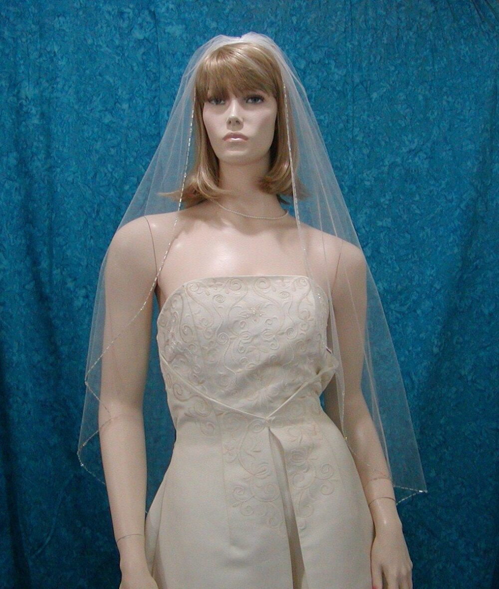 Crystal & Bugle Beaded Edge 1 Tier Fingertip Length Wedding Veil Sale