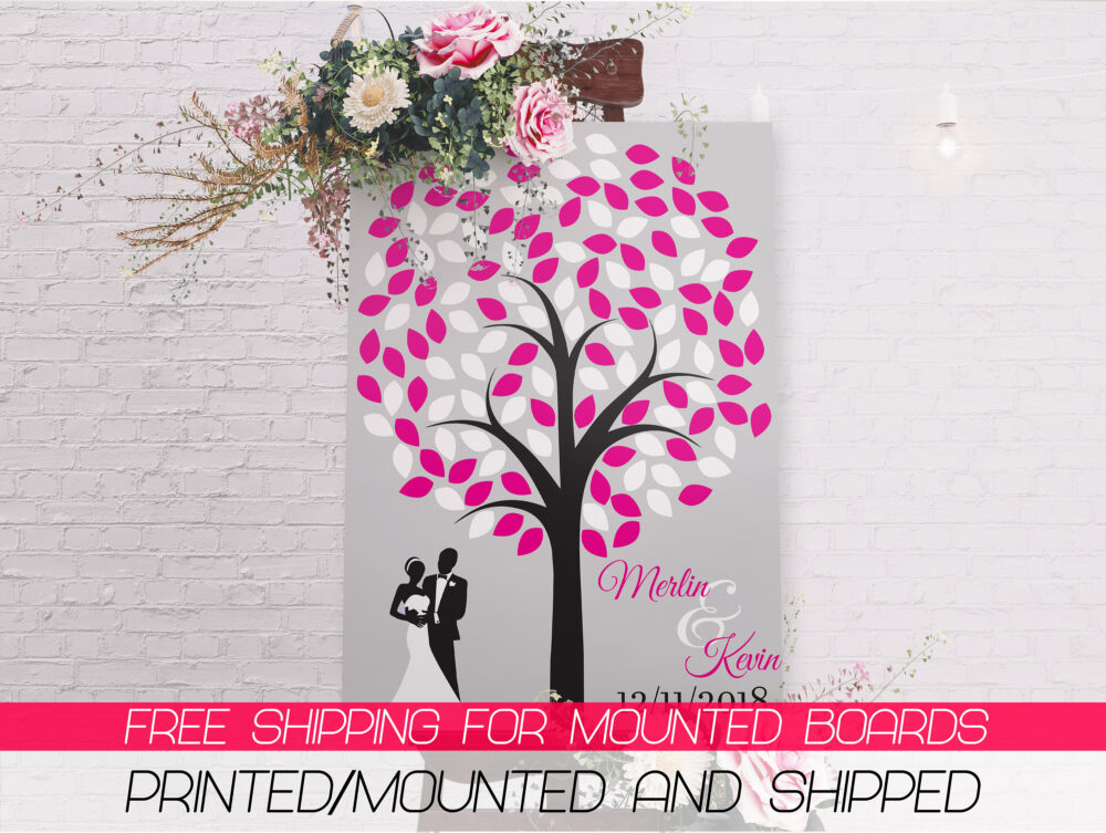 Love Tree Wedding Banner - Flower Style Party Decoration Pink & White Leafs ;10000388