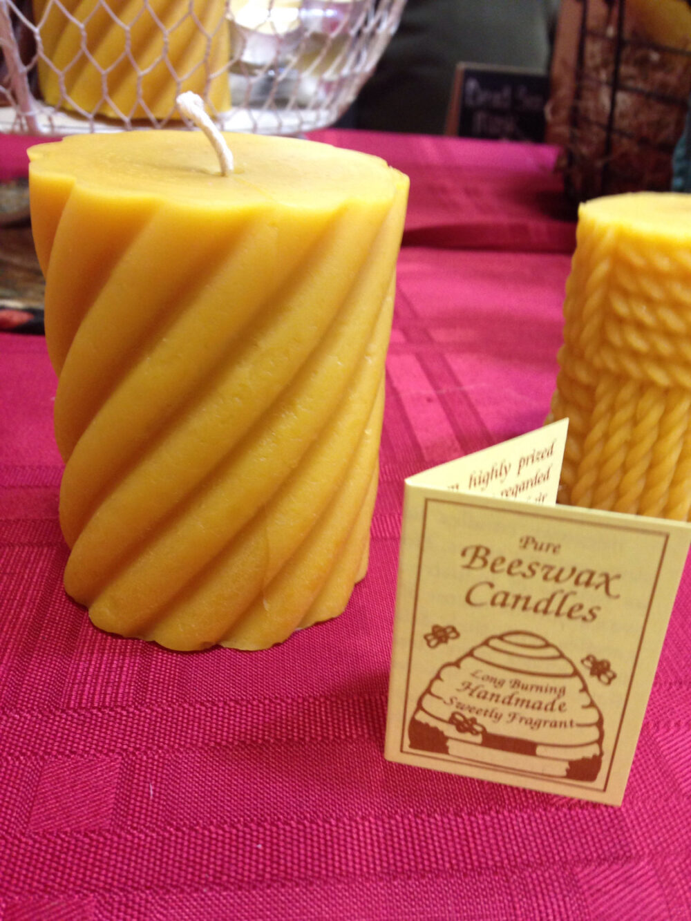 "Beeswax Pillar Candle 3-1/2"" Tall Yellow 100% Natural"