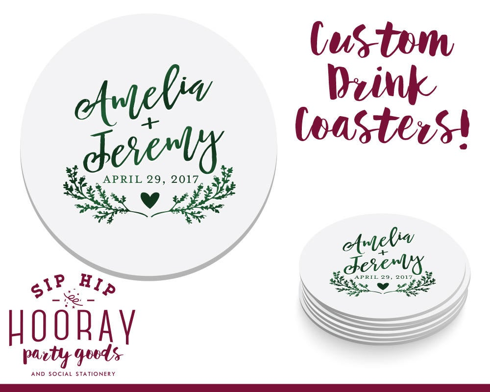 Fall Wedding, Rustic Coasters, Wedding Favors, Drink Coaster, Personalized Weddings, Floral 1766
