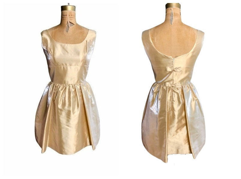 80S Vintage Gold Cocktail Dress & Bolero/1980S Fabian Molina Designer Formal Evening Wear Women's Dresses