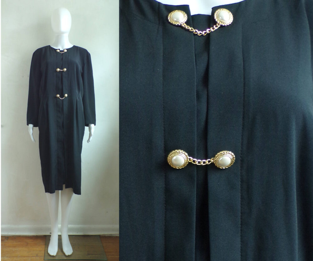 80S Sheath Dress Lightweight Black Gold Metal Chain & Faux Pearl Long Sleeve Retro Pleated Womens Large/xl
