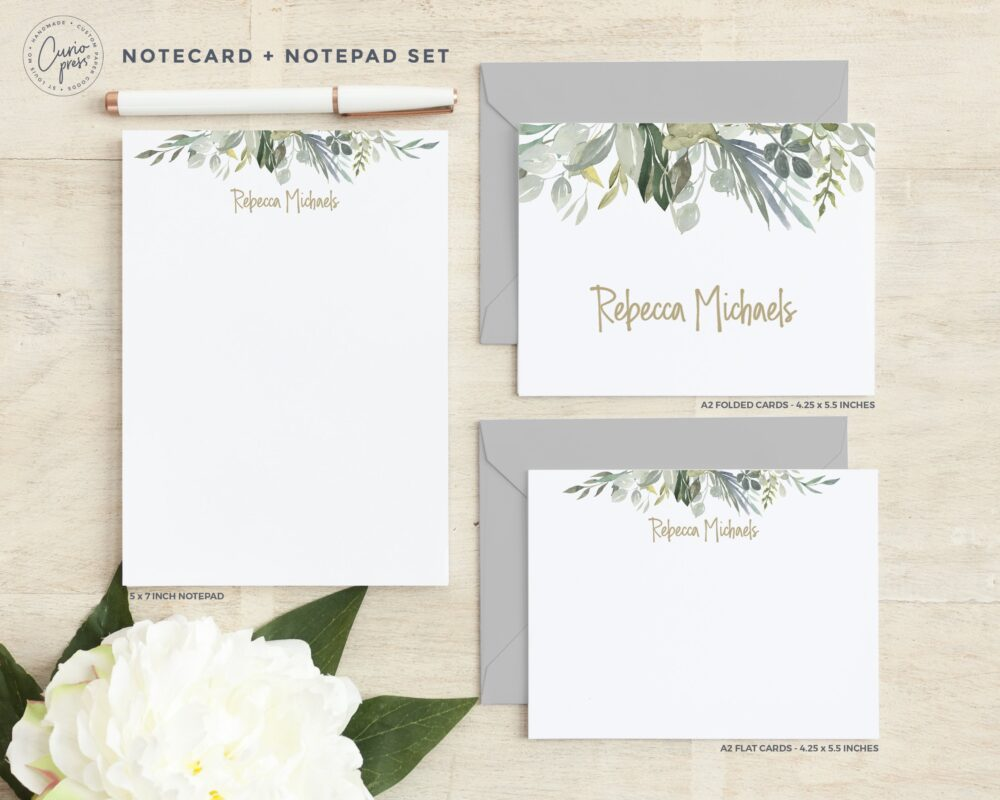 Personalized Stationery Set/Notecard & Notepad Stationary Cute Women's Floral Delicate Soft Clean Elegant Cards // Serenity 3-Set