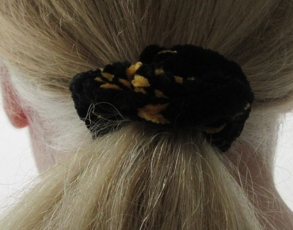 Black & Gold Crushed Velvet Scrunchie, Ponytail Holder, Women's Crocheted Scrunchie