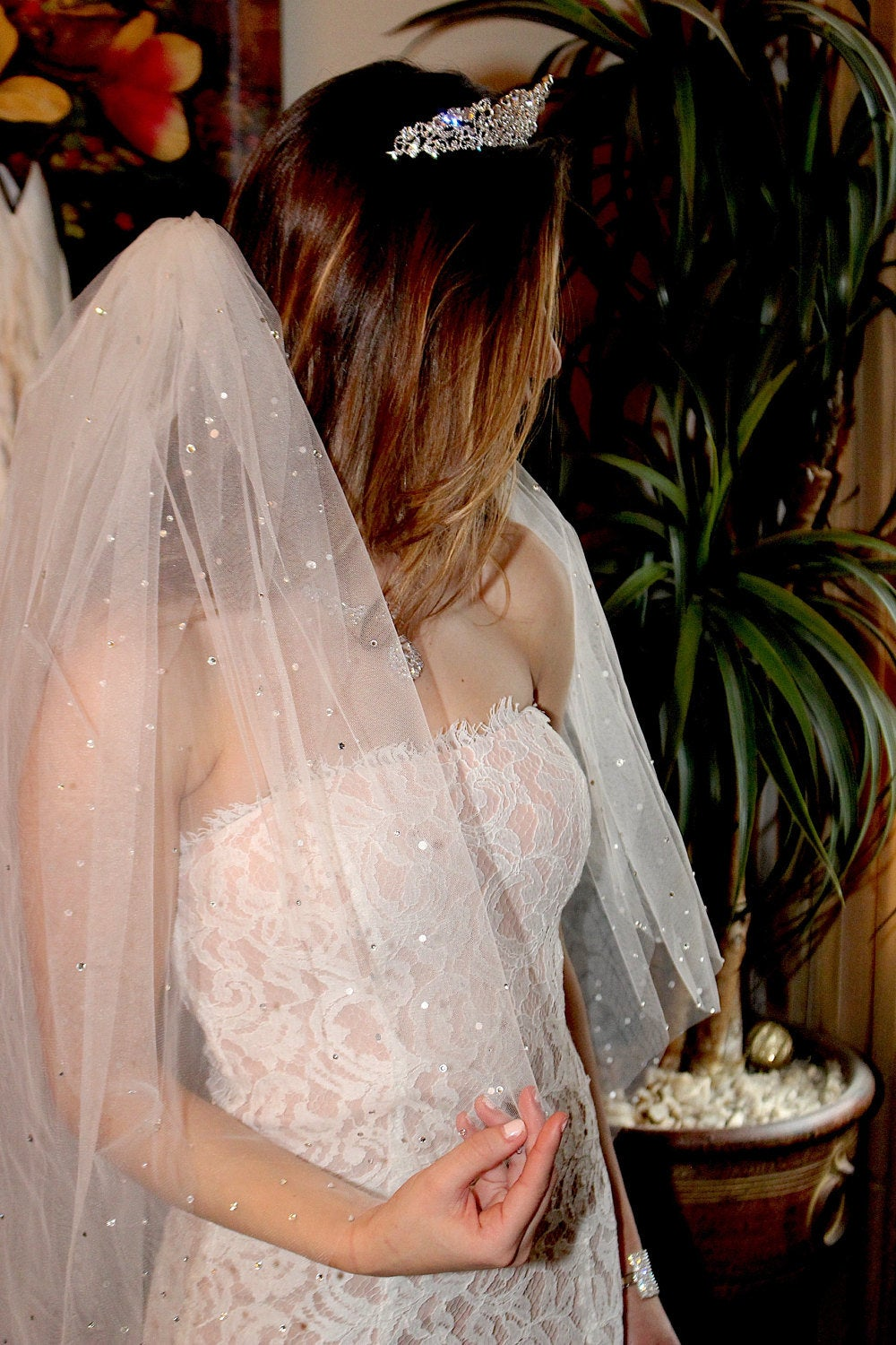 Scattered Crystal Wedding Veil, 2 Tier Veil With Blusher