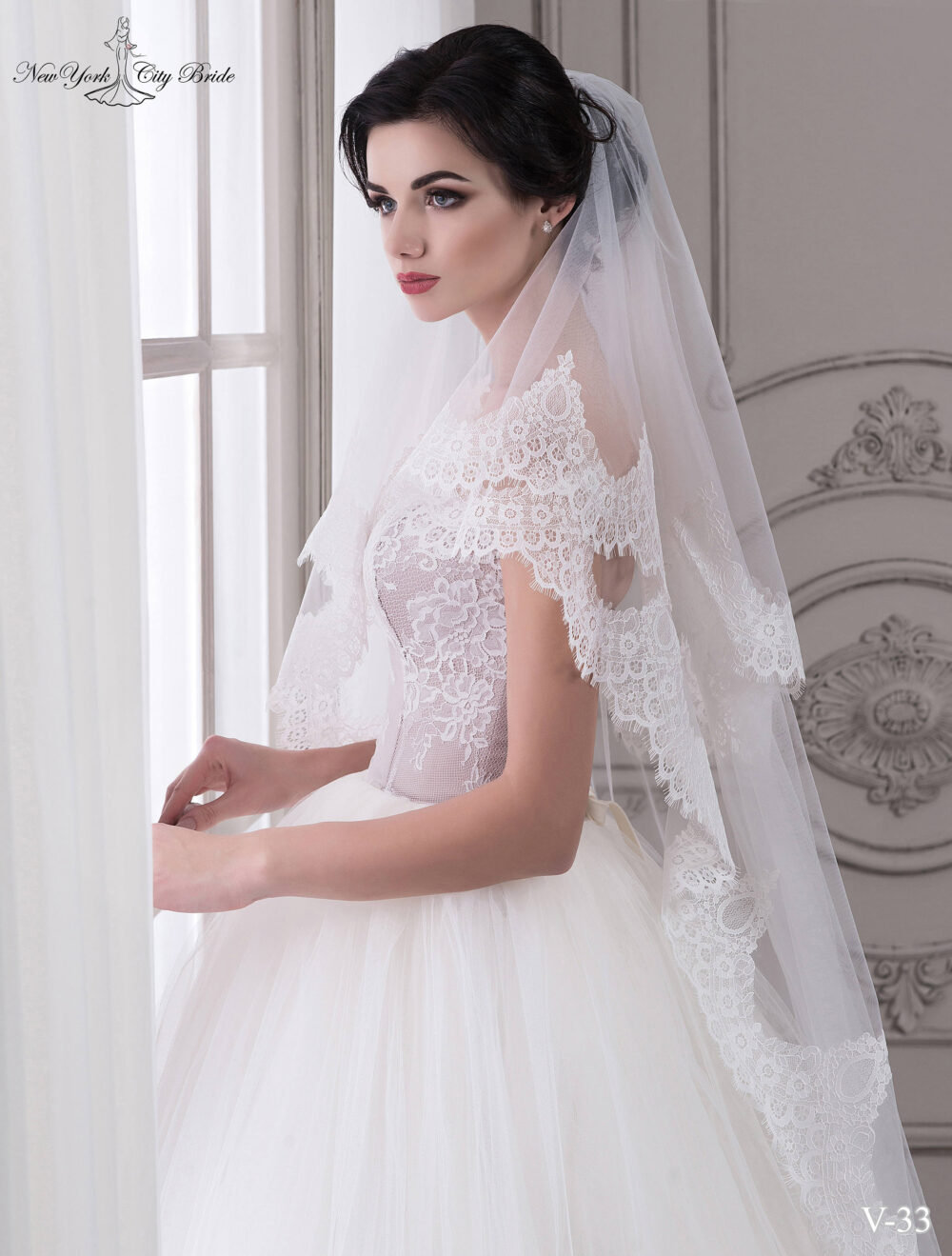 Wedding Lace Veil Grace, 72 Inches Two-Tier Veil, Bridal Veil , White Chapel Length