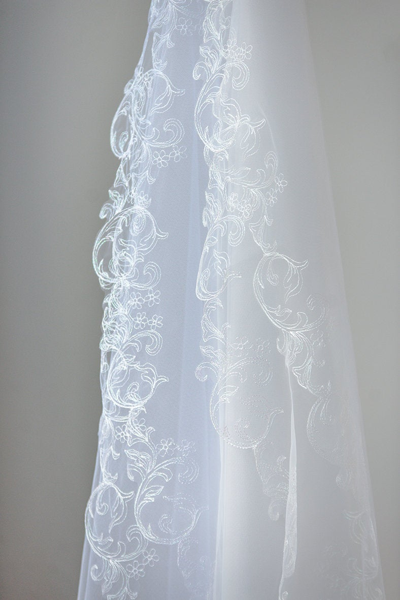 Two-Tier Veil, Two Tier Cathedral Length, Two Chapel Fingertip Wedding Veil, Elbow Length