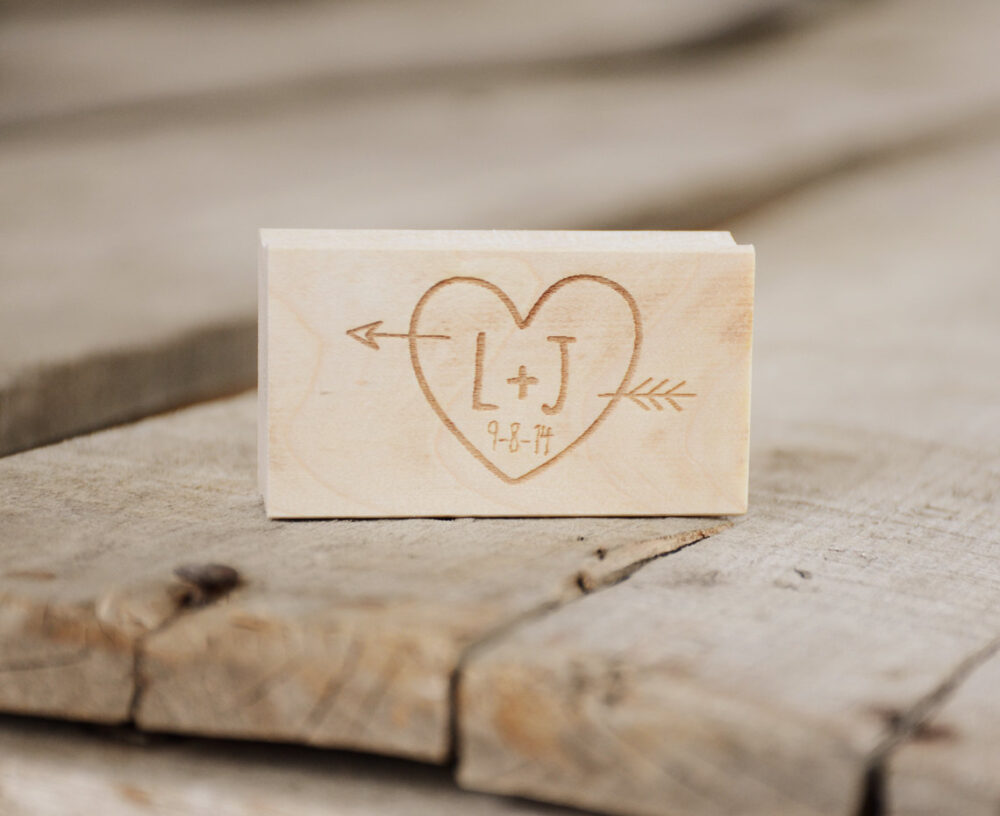 Monogram Rubber Stamp, Initials With Heart & Arrow. Personalized Custom Stamp Wedding Date For Woodsy Rustic Wedding
