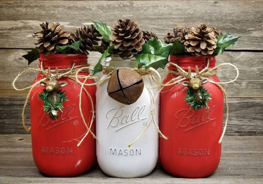 Rustic Christmas Decor, Table Farmhouse Decorations, Centerpiece, Mason Jar Gift