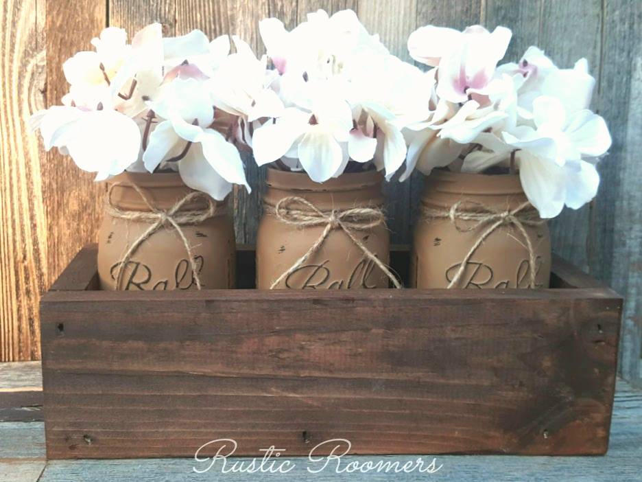 Mason Jar Box, Mason Jars, Rustic Decor, Centerpiece, Rustic, Table Wood Home Farmhouse Shabby Chi