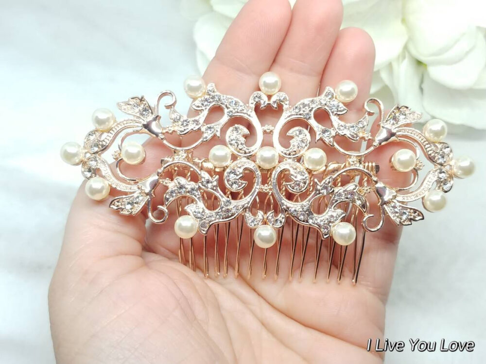 Pearl Hair Piece-Bridal Accessories-Vintage Comb-Wedding Accessories-Bridal Comb-Bridal Piece-Wedding Comb