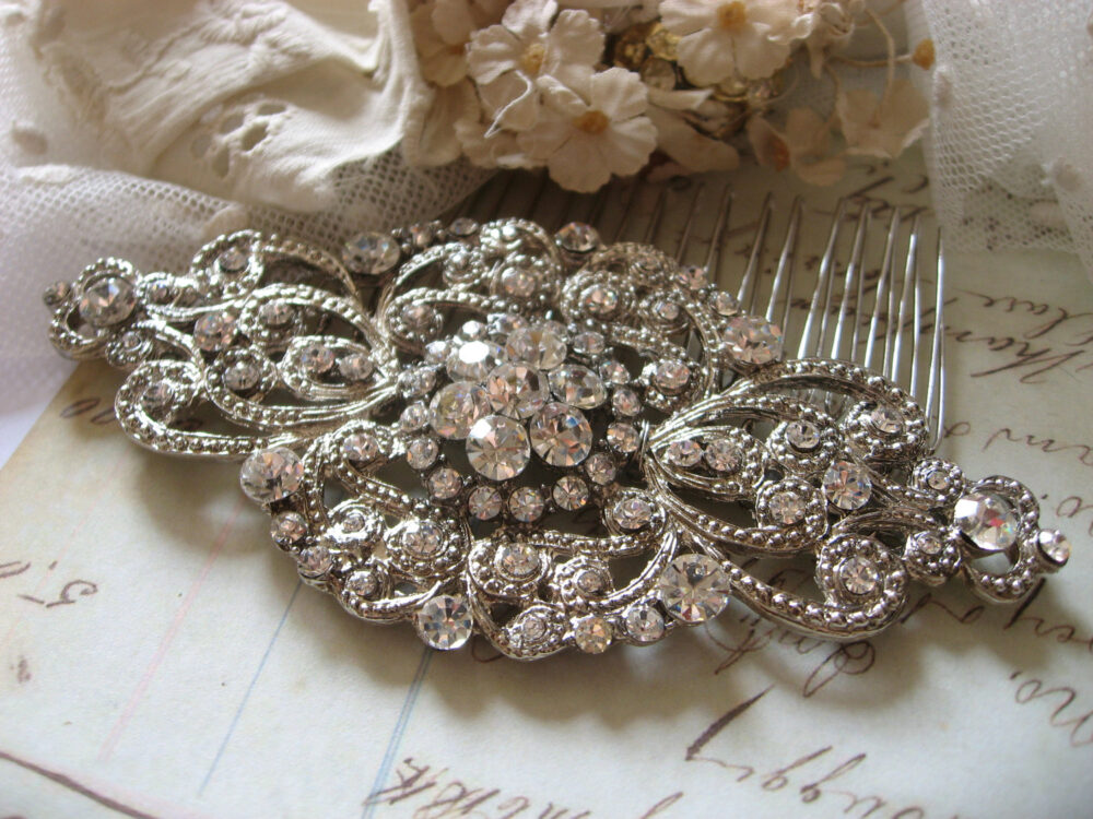 Wedding Hair Comb, Bridal Barrette Clip, Victorian Silver Vintage Style Accessory, For Her, Engagement Comb
