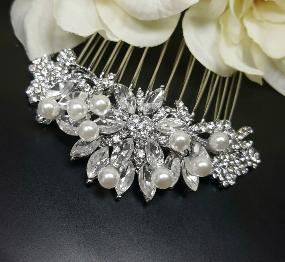 Vintage Wedding Hair Comb, Pearl & Crystal Accessories, Mother Of The Bride Gifts, Silver Rhinestone Comb