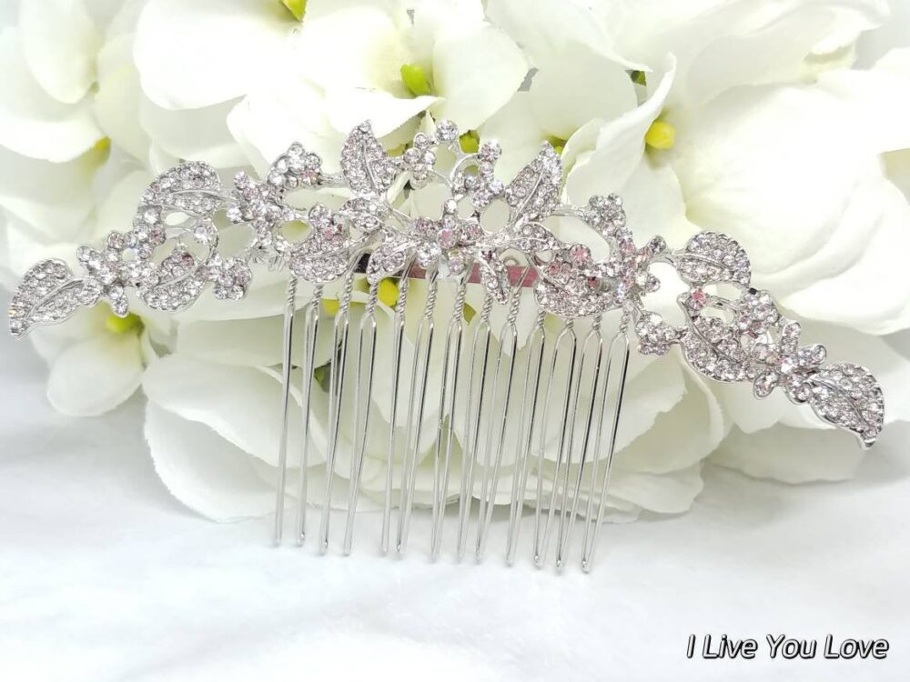 Flower Hair Comb-Bridal Accessories-Wedding Accessories-Gold Leaf Piece-Wedding Comb