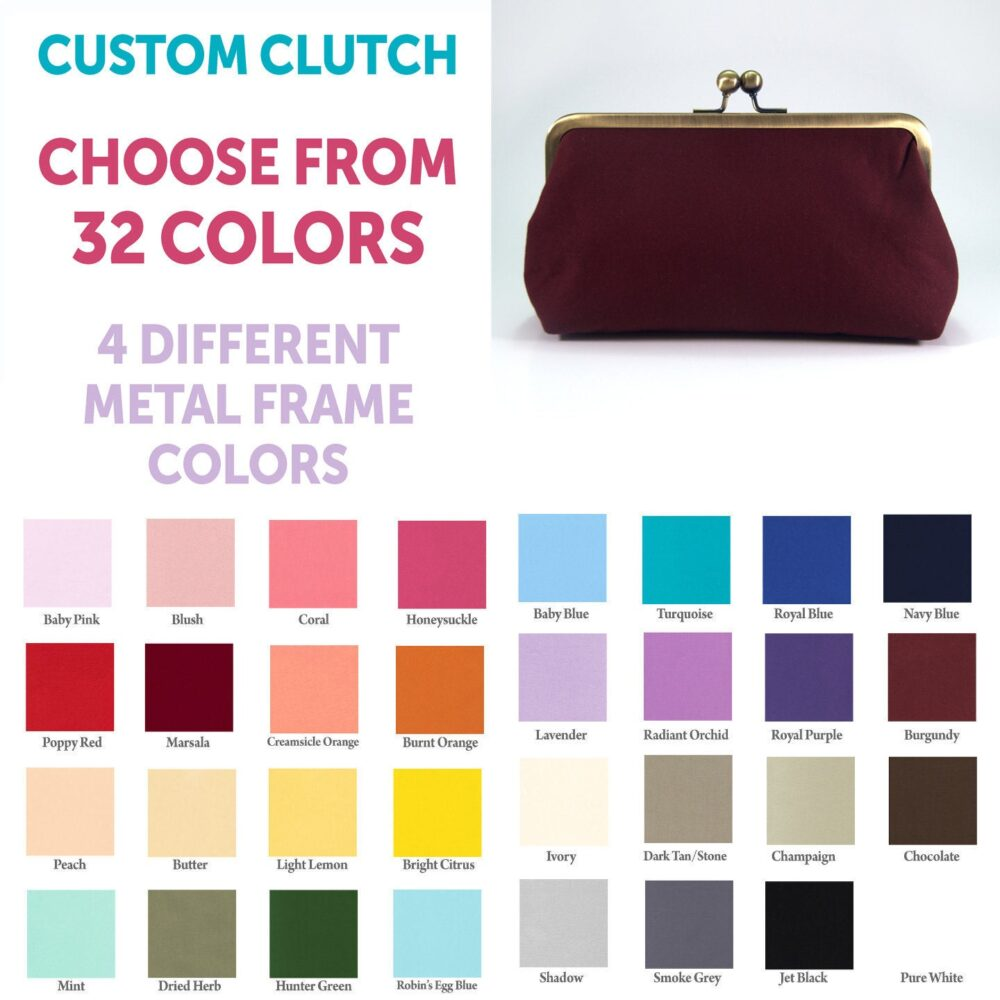 Choose Your Color Clutch, Custom Purse, Blush Pink Wedding Bridal Bridesmaid Clutches, Burgundy Evening Bag