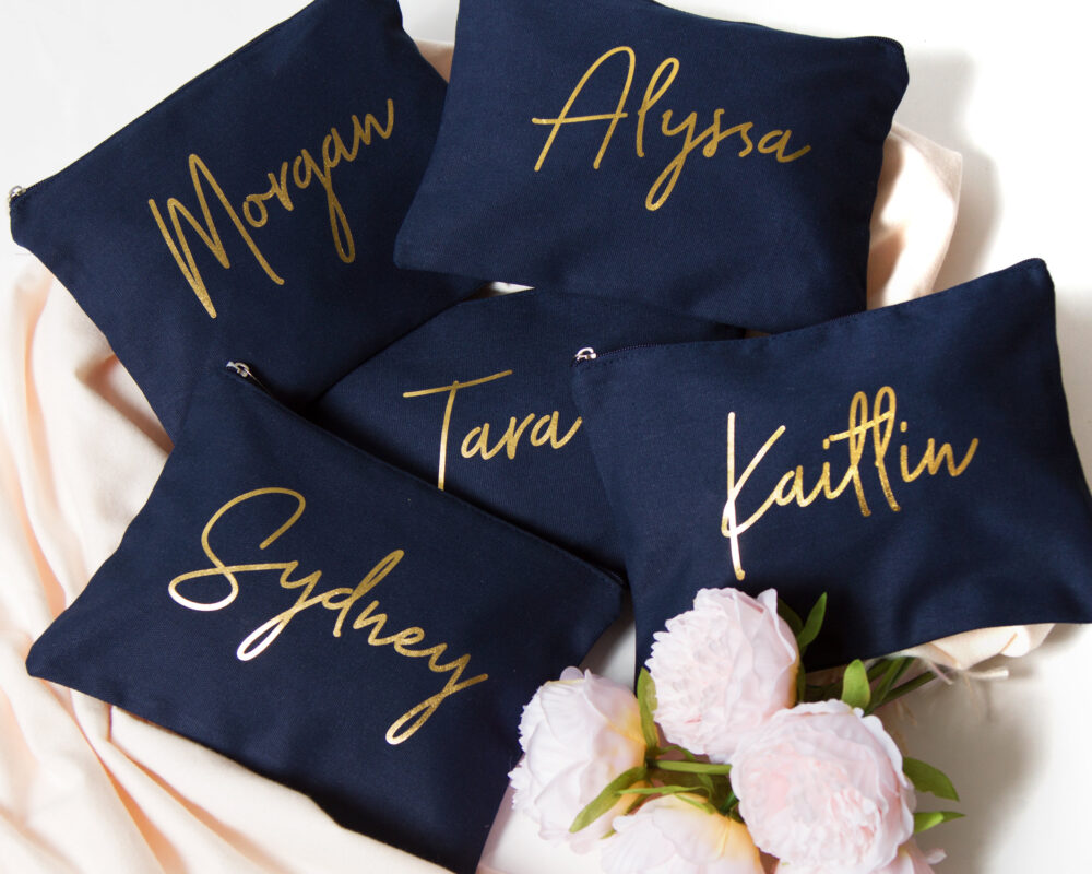 Bridesmaid Gift Cosmetic Bag, Makeup Brush Case, Handwritten Script Canvas Holder, Wedding Bridal Gift, Custom Name Clutch