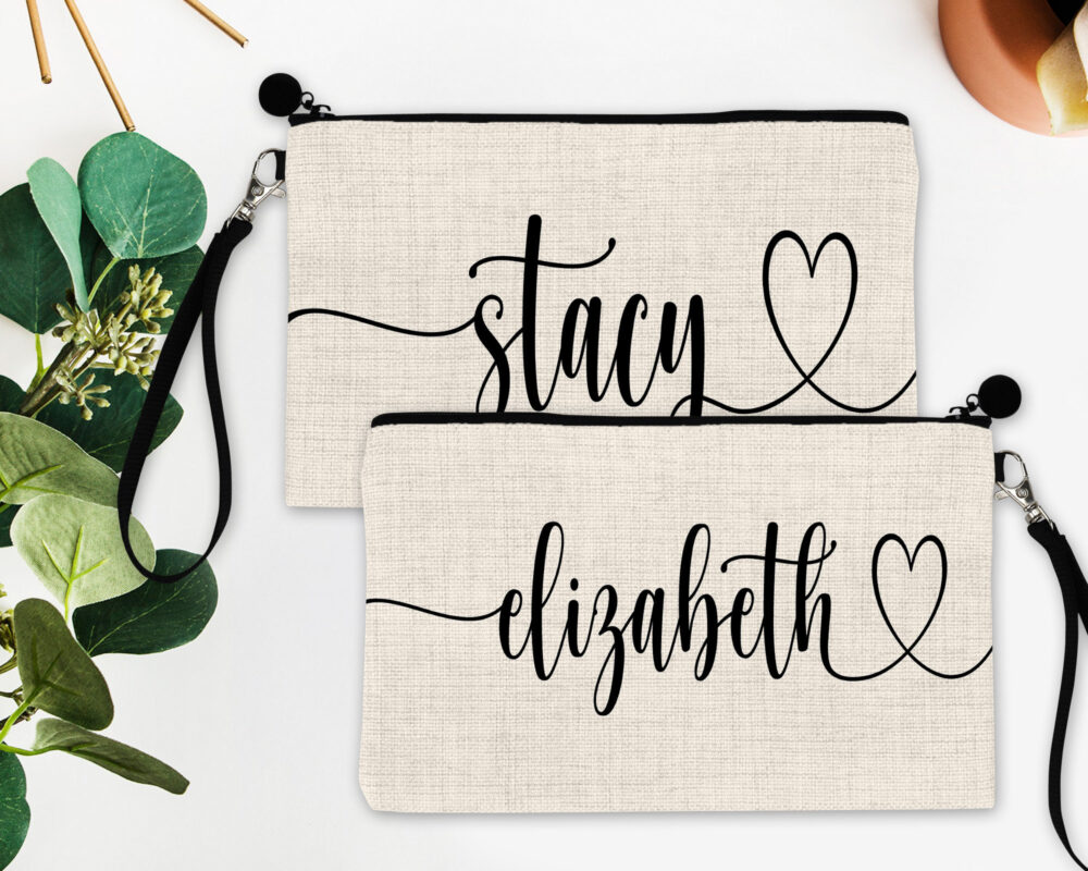 Personalized Heart Name Make Up Bag. Great Summer Bachelorette Or Girls Weekend Favors. Bag Party Favors Gifts