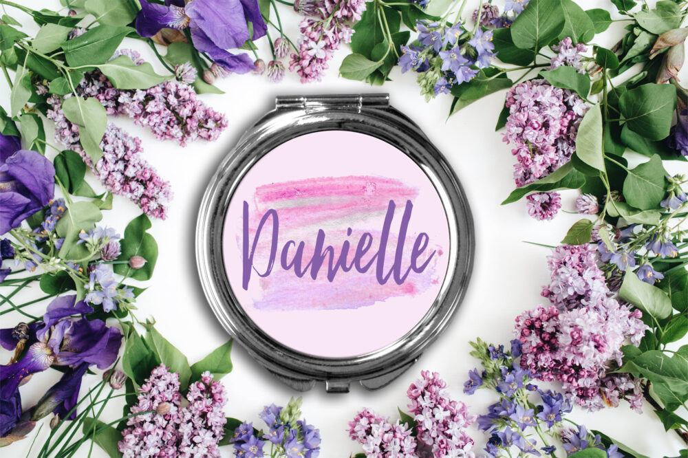 Chic Personalized Compact Mirror -Personalized Mirror, Bridesmaid Bridal Party Makeup