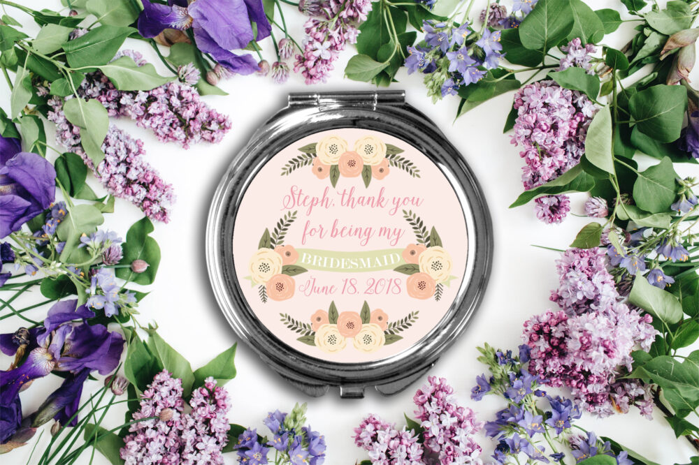 Thank You Personalized Bridal Party Compact Mirror -Personalized Mirror, Bridesmaid Makeup