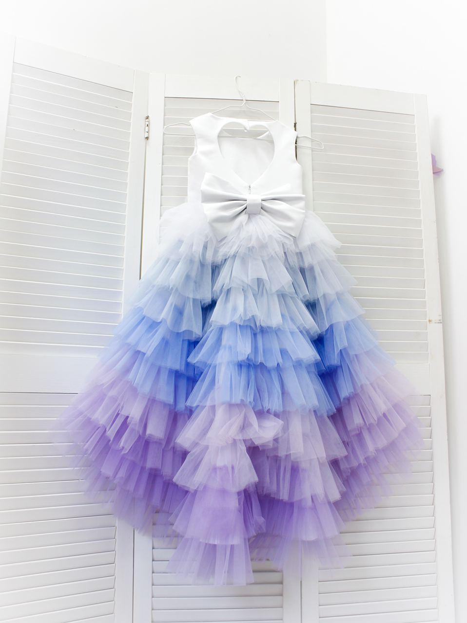 Multicolored Birthday Girl Dress, Flower Puffy Tutu Hi Lo Wedding Baby Outfit, First Ball Dress Princess