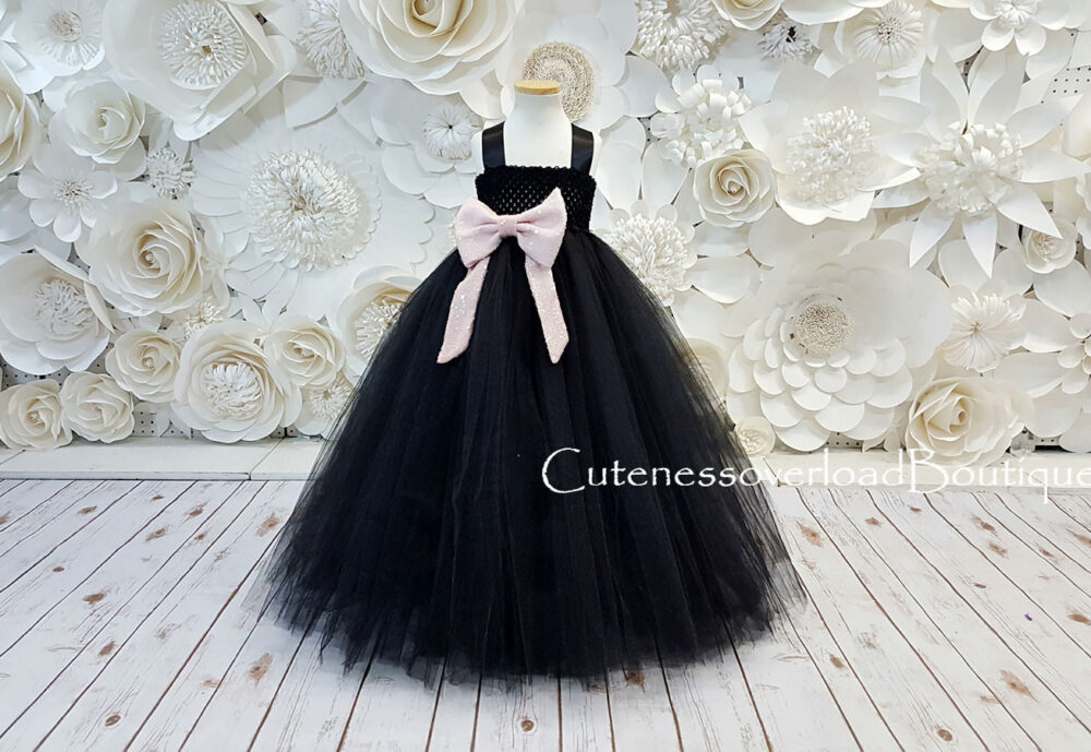Black Girls Dress-Black Fancy Tutu Flower Girl Wedding Baby Dress