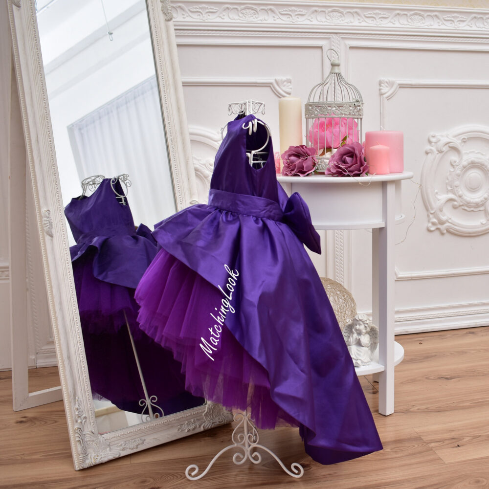 Ultra Violet 1st Birthday Outfit Girl, Flower Girl Dress, Purple Tutu Dress With Train, Party Wedding Dresses, Baby