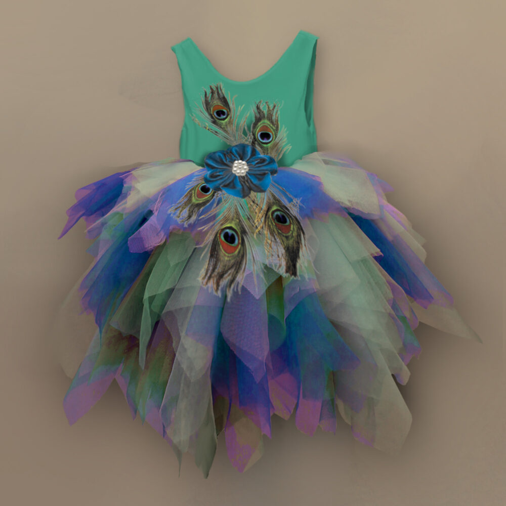 Peacock Feather Halloween Outfit, Flower Girl Dress, Feather Dress For Wedding, Baby Peacock Tutu Wedding