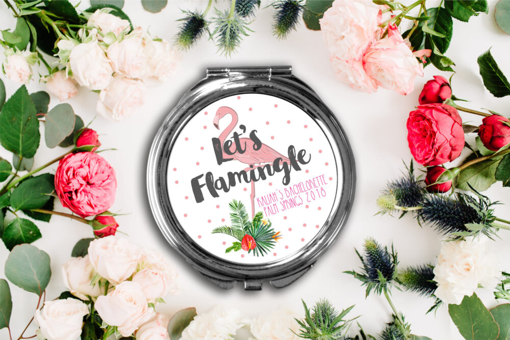 Lets Flamingle Bachelorette Party Compact Mirror -Personalized Mirror, Bridesmaid Bridal Makeup
