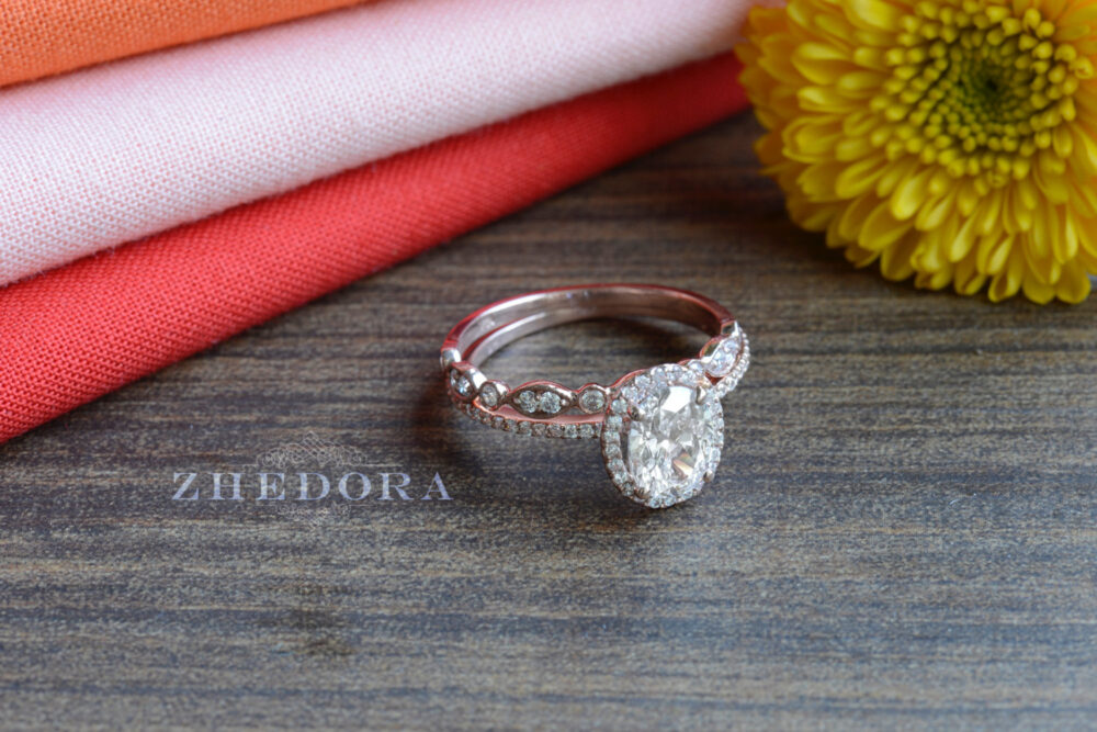 2.4 Ct Oval Cut Engagement Bridal Ring Milgrain Band Real 14K/18K Rose Gold, Moissanite Set , Zhedora