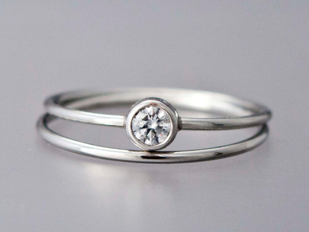 Diamond Platinum Engagement Ring & Wedding Band Set - 3.4mm Diamond With A Delicate 1mm Round Band