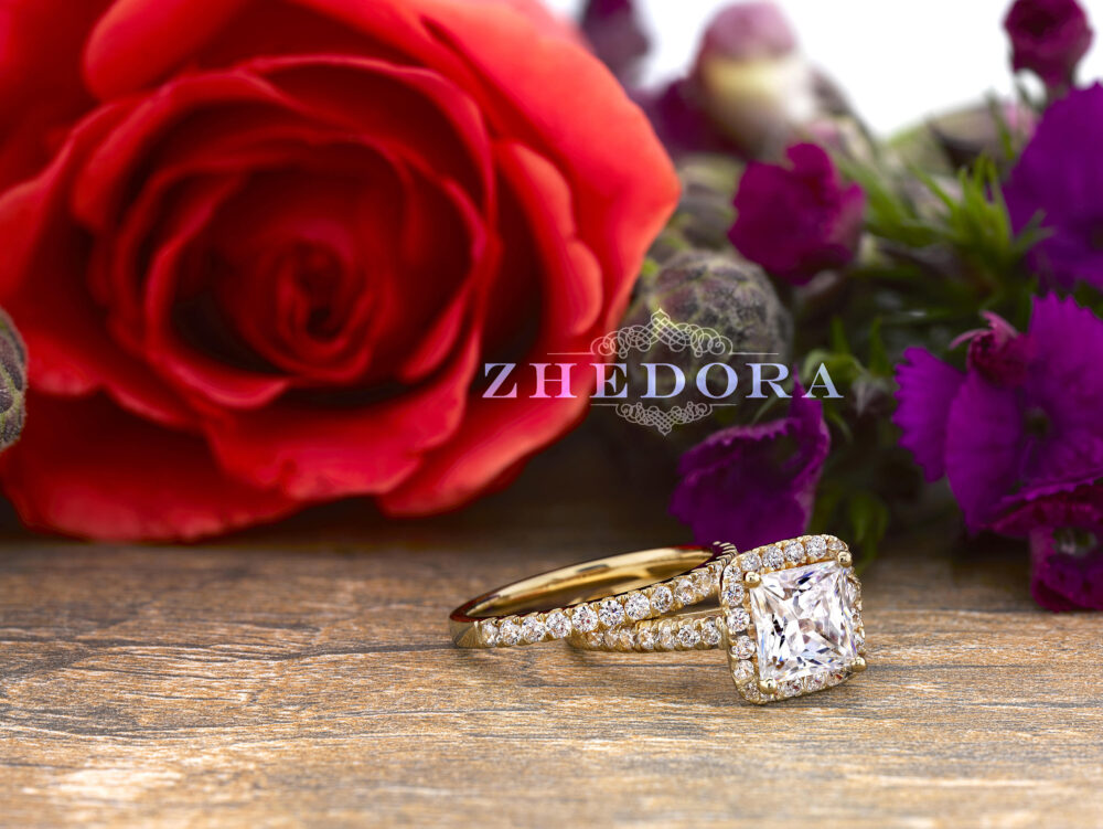 Yellow Gold Princess Cut Wedding Set in 14K/18K, Moissanite Set, Lab White Sapphire Bridal , Zhedora