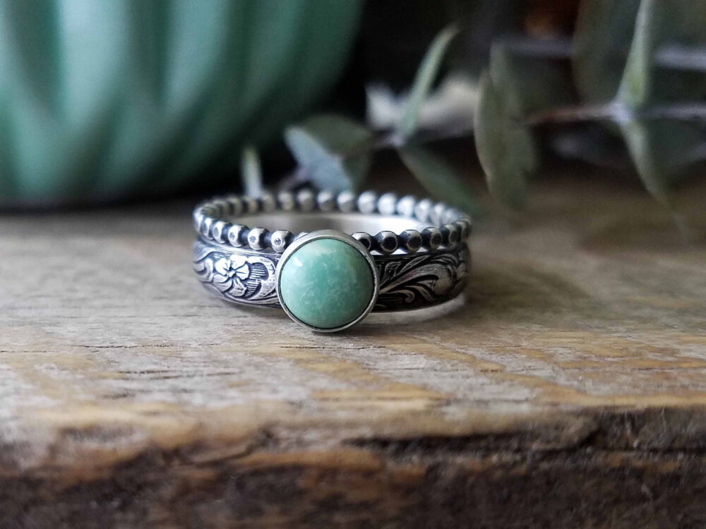 Turquoise & Sterling Silver | Kingman Ring Set Of 2, Rustic Oxidized Patina, Engagement Wedding Set, Custom // Made To Order