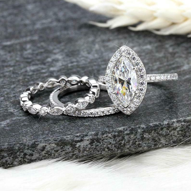 2.20Ct Marquise Cut White Simulated Diamond Halo Ring & 2 Band Engagement Wedding Set 925 Sterling Silver