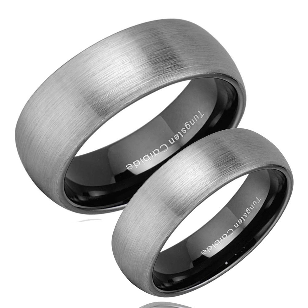 His & Hers Dome Black Tungsten Engraving Ring Set, Matching Wedding Bands, Personalized Promise Rings For Couples, 6mm 8mm
