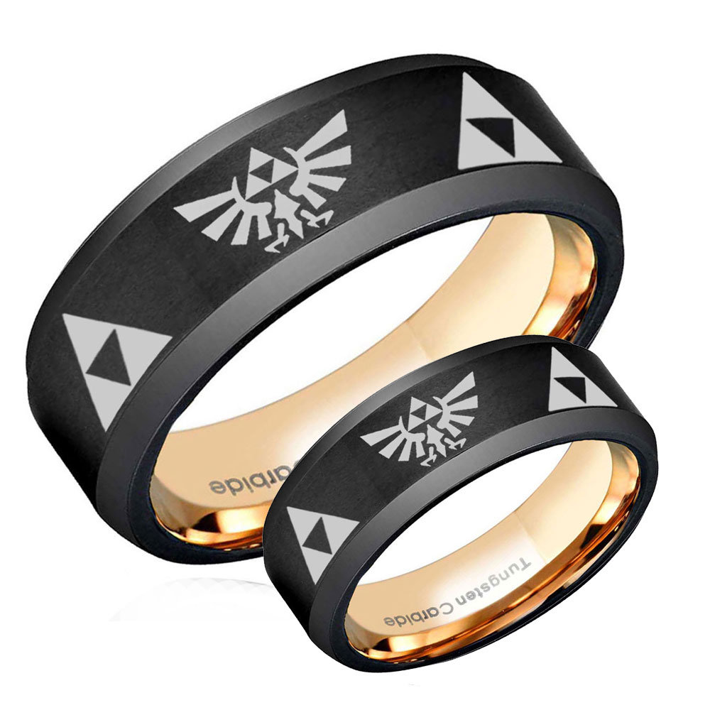 Legend Of Zelda His Hers Tungsten Wedding Band Mens, Bevel Black Rose Gold Rings Sets, Promise Ring For Couple, Triforce