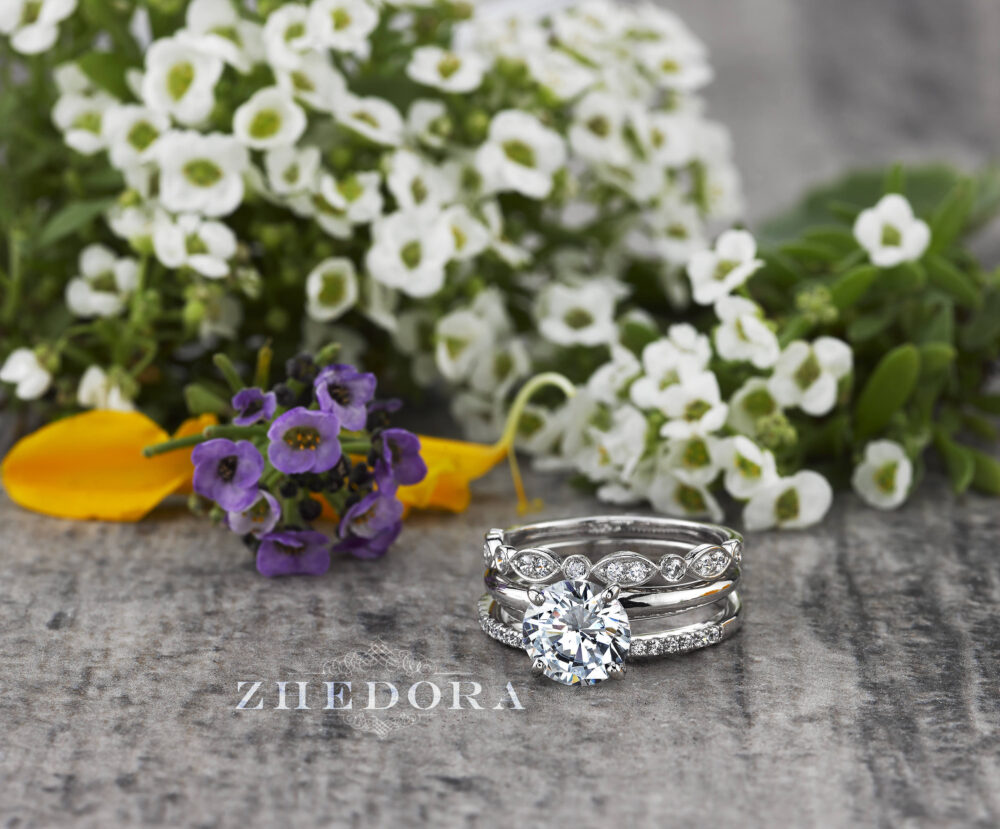 White Gold Stacking Bridal Set in 14K/18K , Scalloped Round Cut Set, Stackable Rings Moissanite, 3 Ring Forever One
