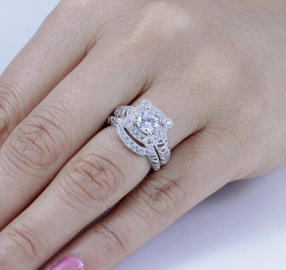 sterling Silver Cz Square Halo Wedding Band Engagement Rings Set Size 3-12 Ss68A
