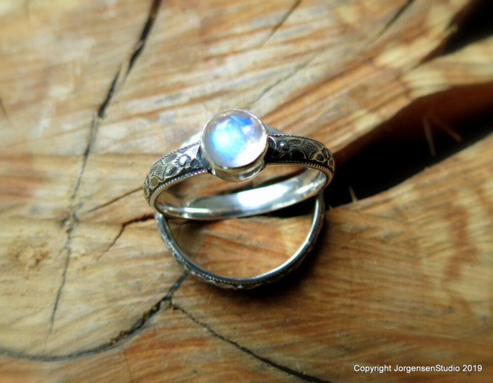 Rainbow Moonstone Matching Wedding Ring Set, Engagement & Curved Band, Bridal Set Sterling Silver