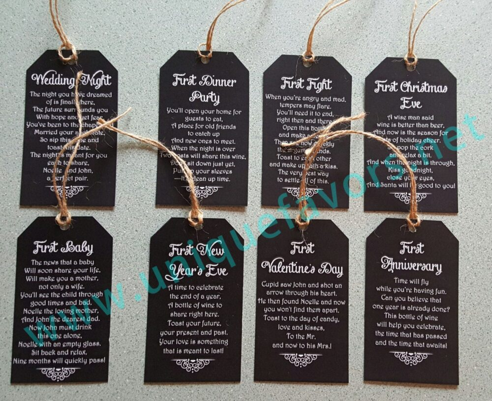 Wedding Gift, Bridal Shower, Poem Wine Tags Printable & Personalized - 8 Included Digital File Only