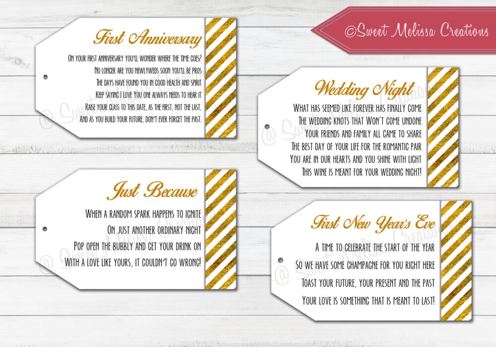 Marriage Wine Tags-1st Milestone-Printed-Newlyweds-Gold Foil-Bridal Showers-Bachelorette Party-Wine Gift Baskets-Set Of 8 Tags