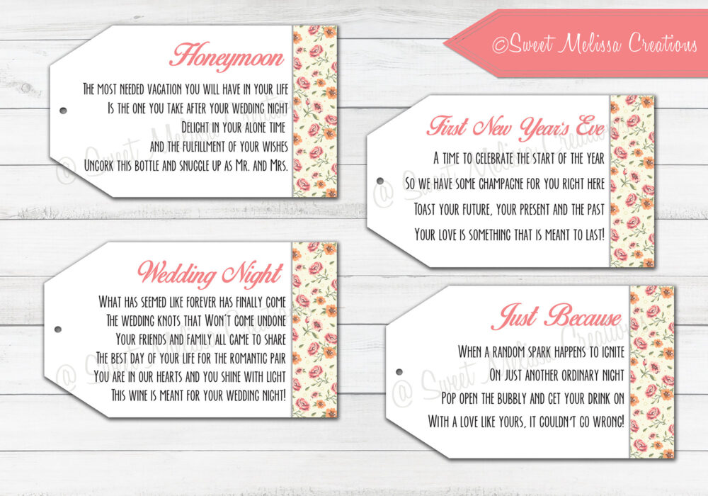 Marriage Wine Tags-1st Milestone-Printed-Newlyweds-Floral-Bridal Showers-Bachelorette Party-Wine Gift Baskets-Set Of 8 Tags
